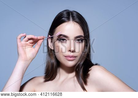 Beauty Eyebrow Care Or Vivid Glance. Perfect Eyebrows, Make-up Correction