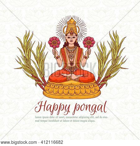 Vector Greeting Card For Indian National Traditional Holiday Pongal.