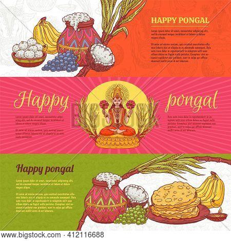 Happy Pongal Banner Set - Hindu Religion And Indian Harvest Festival