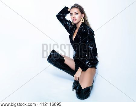 Latex Leather Fashion. Sexy Sensual Young Woman. Beauty Girl, Seductive Lady