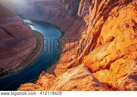 Famous Hiking Place. Horseshoe Bend, Page, Arizona. Horse Shoe Bend On Colorado River, Grand Canyon