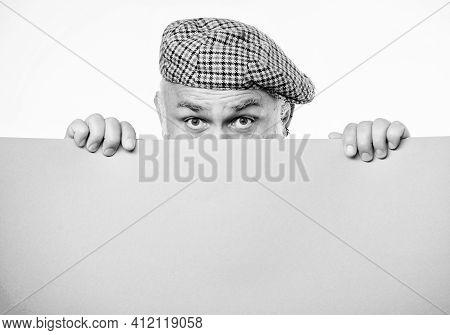 Announcement Concept. Senior Bearded Man Peek Out Of Banner Place Announcement. Advertisement Shop.
