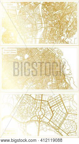 Canberra Australia, Buenos Aires Argentina and Cairo Egypt City Map Set in Retro Style in Golden Color. Outline Map.