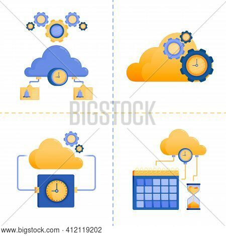 Logo Symbol Designs For Time, 4.0 Technology, Business, Cloud Network Service, Server Timeout. Flat