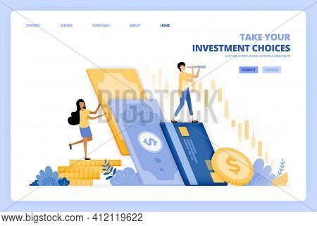 Women Choose To Invest Money In Stocks Market. Men Choose To Save In Bank. Vector Illustration Conce