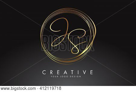 Handwritten Js J S Golden Letters Logo With A Minimalist Design. Js J S Icon With Circular Golden Ci