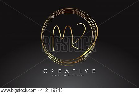 Handwritten Mk M K Golden Letters Logo With A Minimalist Design. Mk M K Icon With Circular Golden Ci