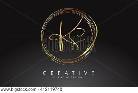 Handwritten Ks Golden Letters Logo With A Minimalist Design. Ks Icon With Circular Golden Circles. C