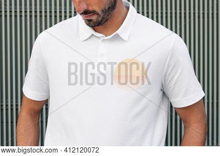 White polo shirt with logo men's simple fashion closeup