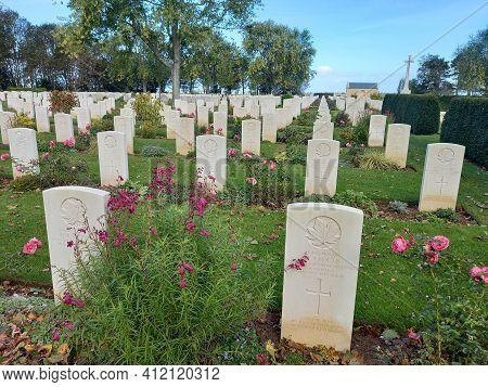 Bretteville-sur-laize , Normandy France - 02 16 2021 : Bretteville-sur-laize Canadian Military Cemet