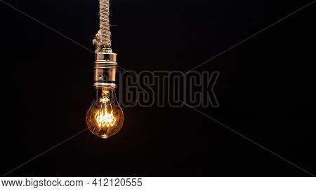 Light Bulb On Dark Background Old Bulb Latest Technology Science Electricity Yellow Light Bulb Shiny