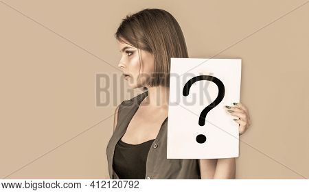Thinking Woman With Question Mark. Paper Notes With Question Marks. Doubtful Girl Asking Questions T