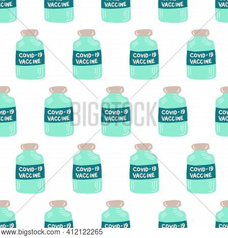 Vaccine Bottles Coronavirus Seamless Vector Pattern. Repeating Background Covid Vaccine Dose Hand Dr
