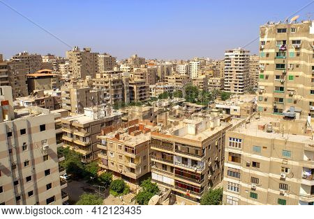 Cairo - Egypt - October 1, 2020: Panoramic View Of Nasr City Cairo Old Residential District With Man