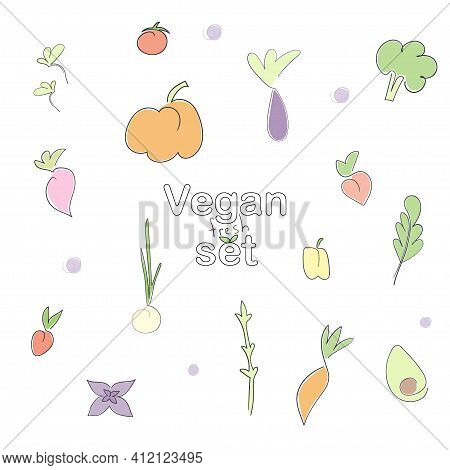 Vegan Set Of Fruits, Vegetables And Berries On A White Background With The Inscription In Line Style
