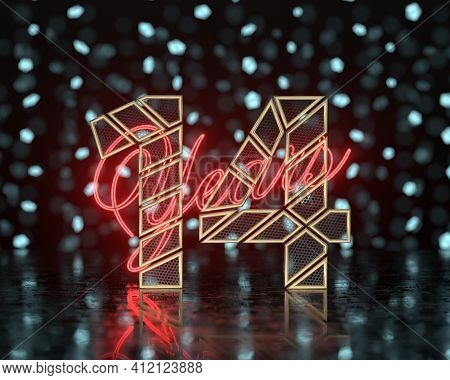 Golden Number Fourteen (number 14) Cut Into Perforated Gold Segments With  Inscription Years With A