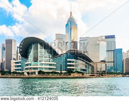 HONG KONG, HONG KONG - NOVEMBER 09, 2012: View on the Central District Hong Kong Island and Victoria Harbor, Hong Kong