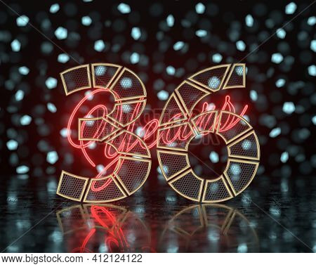 Golden Number Thirty-six (number 36) Cut Into Perforated Gold Segments With  Inscription Years With