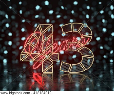 Golden Number Forty-three (number 43) Cut Into Perforated Gold Segments With  Inscription Years With