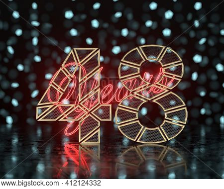 Golden Number Forty-eight (number 48) Cut Into Perforated Gold Segments With  Inscription Years With