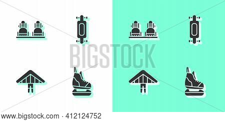 Set Skates, Snowboard, Hang Glider And Longboard Or Skateboard Icon. Vector