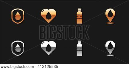 Set Waterproof, Heart With Water Drop, Bottle And Location Icon. Vector