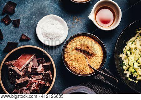 Chocolates Background. Chocolate. Assortment Of Fine Chocolates In White, Dark, And Milk Chocolate.