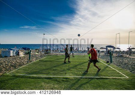 Alanya, Turkey - October 20, 2020: Foot volleyball grass court on the Kleopatra beach in Alanya. Turkey.