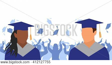 African American Girl And Caucasian Boy  Graduates In Mantle And Academic Square Cap On Background O