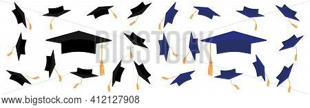 Mortarboard Icons, Graduate Cap In Black And Blue Color With Gold Tassel. Throwing Square Academic C