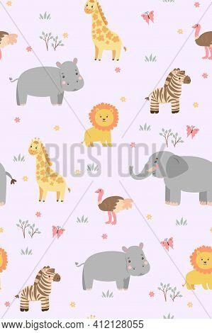 Seamless Pattern With Cute Savanna Animals. Vector Image.