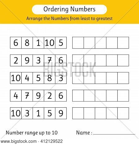 Ordering Numbers Worksheet. Arrange The Numbers From Least To Greatest. Number Range Up To 10. Mathe