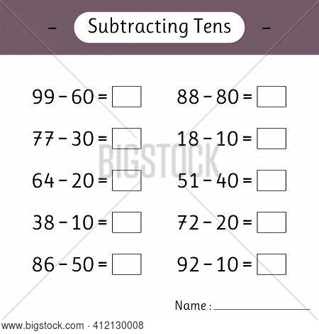 Subtracting Tens. Math Worksheets For Kids. Mathematics. School Education. Development Of Logical Th