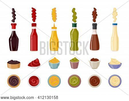 Food Sauce And Dip Set - Bottle And Serving Cup For Ketchup And Others