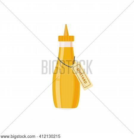 Bottle Of Mustard Sauce With Spout Lid Flat Vector Illustration Isolated.