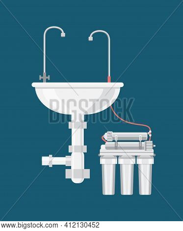 Clean Water Filter Connected To Sink Tap Faucet. Water Purification