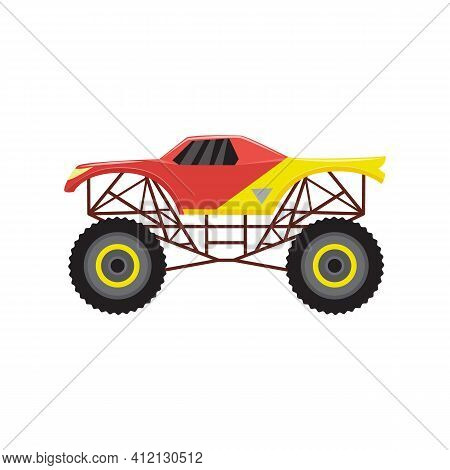 Monster Truck Heavy Automobile 4x4 A Vector Cartoon Isolated Illustration.