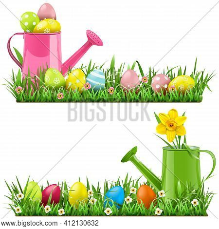 Vector Easter Border With Watering Can Isolated On White Background