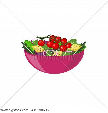 Vegetable Salad In Bowl, Mix From Crackers, Tomatoes Cherry, Onions And Herbs.