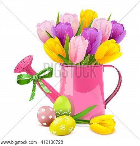 Vector Easter Concept With Pink Watering Can Isolated On White Background