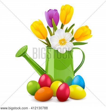 Vector Easter Concept With Watering Can Isolated On White Background