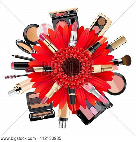 Vector Makeup Concept With Gerbera Isolated On White Background