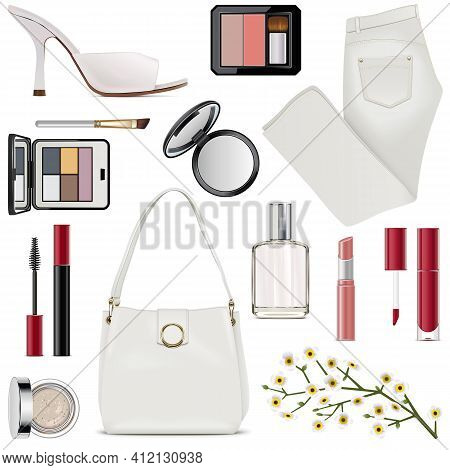 Vector Spring Female Accessories Set 5 Isolated On White Background