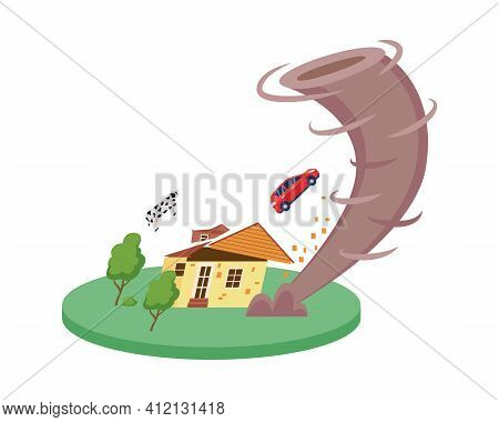 Natural Disaster Symbol With Twisting Tornado, Flat Vector Illustration Isolated.