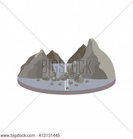 Natural Disaster Rockfall In Mountains A Flat Vector Illustration.