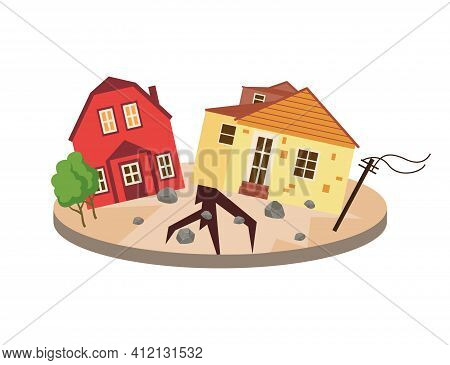 Devastating Effects Of An Earthquake Disaster Flat Vector Illustration Isolated.