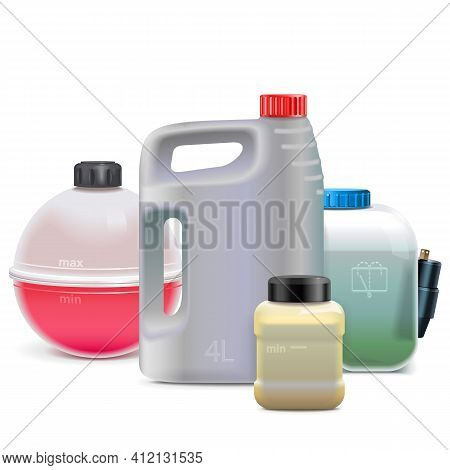 Vector Car Fluid Flasks Isolated On White Background