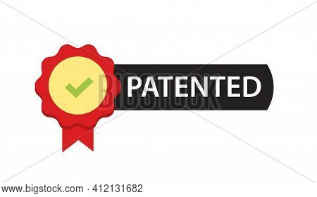 Patented Label Mark Vector Icon Or Intellectual Property Patent Protection Sign Isolated Emblem