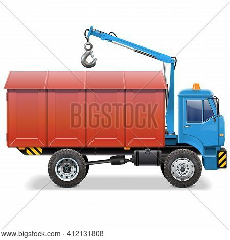 Vector Garage Delivery Concept With Truck Isolated On White Background