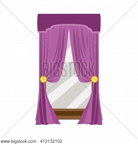 Purple Velvet Curtains Or Window Hangings, Flat Vector Illustration Isolated.